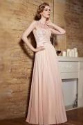 Sexy A-Linie rosa langes Ärmelloses Abendkleid aus Chiffon