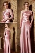 Robe de soirée rose asymétrique en satin de soie
