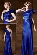 Robe de cérémonie bleu longue asymétrique froufrou