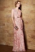 Sexy Rosa V Ausschnitt Blumen Sequins Langes Rückenfreies Abendkleid