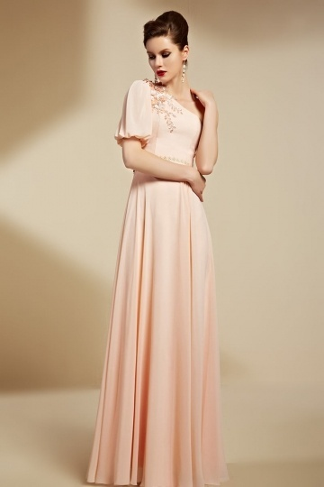 Dressesmall Pink Chiffon One Shoulder A Line Long Appliques Formal Dress