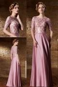 Elegantes A-Linie Boot-Ausschnitt Bodenlanges rosa Abendkleider