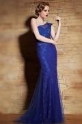 Robe bleu de soirée glamour fendue coupe trompette asymétrique en dentelle