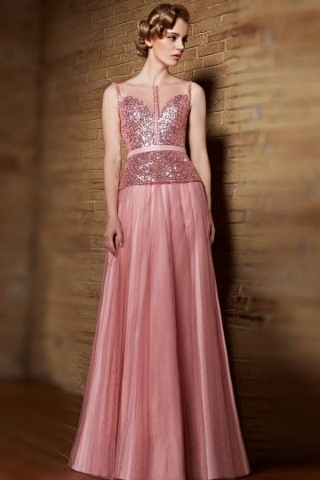 Dressesmall Modern Pink Tulle Bateau A Line Long Sequins Evening Dress
