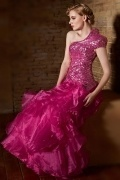 Chic Sheath Fuchsia Long One Shoulder Ruffles Sequins Prom Dress