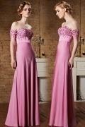 Sexy Fuchsia A-Linie Bodenlanges Off Schulter Abendkleid aus Satin