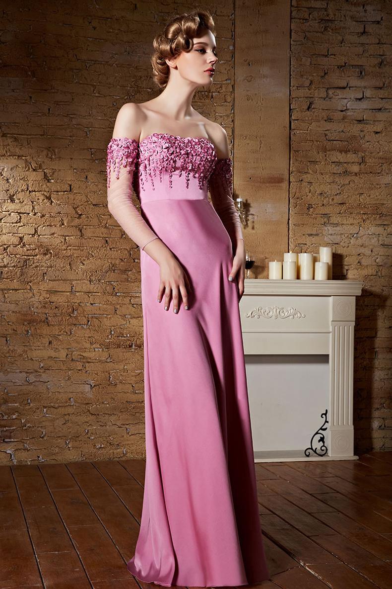 robe haute couture fuchsia claire avec manches mi longue paules d nud es. Black Bedroom Furniture Sets. Home Design Ideas