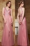 Sexy V Neck Lace Embroidery Sleeveless Floor Length Pink Evening Dress