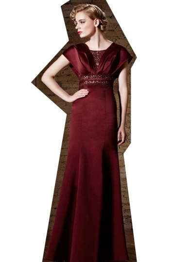 Dressesmall Gorgeous Satin Red Square Long A Line Beading Prom Dress With Sleeves