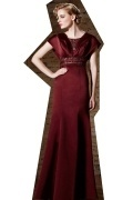 Gorgeous Satin Red Square Long A Line Beading Prom Dress With Sleeves