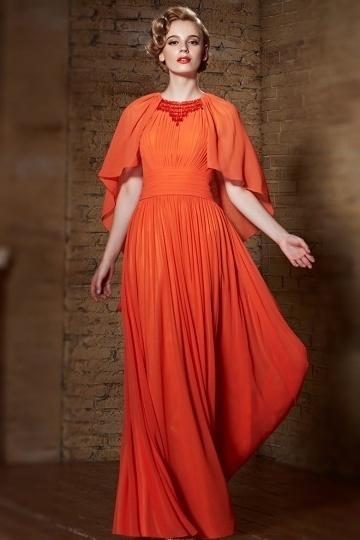 Dressesmall Modern Chiffon Orange Jewel Beading Long Evening Dress