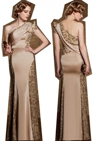2015 Sexy Etui-Linie Ein Schulter Bodenlanges Abendkleider aus Satin Persun