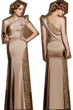 2015 Sexy Etui-Linie Ein Schulter Bodenlanges Abendkleider aus Satin