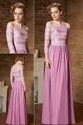 Chic Off Shoulder Fuchsia Long A Line Sequins Prom Dress With Sleeves
