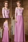 Modernes fuchsia Off Schulter A-Linie Abendkleid aus Chiffon