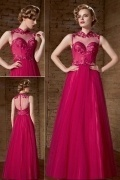Modern Fuchsia Tulle High Neck A Line Long Embroidery Evening Dress