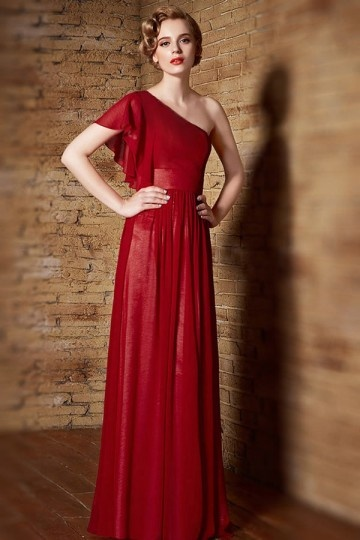 Dressesmall Modern Chiffon Red One Shoulder Long Sequins Prom Dress
