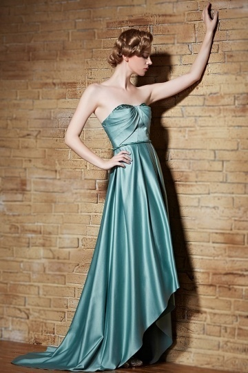 Dressesmall Chic Sweetheart Green Satin High Low Ruching Sweep Train Evening Dress