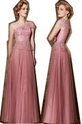New Arrival Long Pink Tulle One Shoulder Sash Prom Dress With Sleeves
