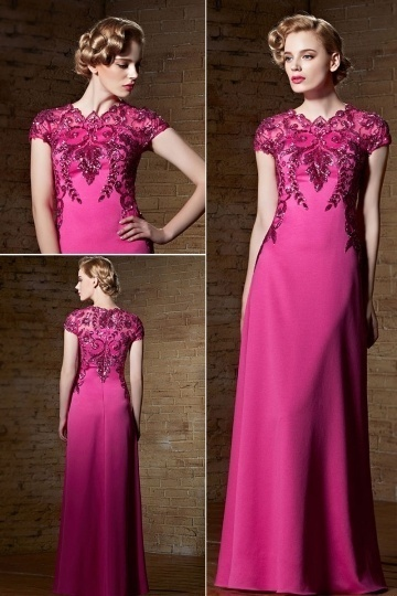Dressesmall Gorgeous Satin Fuchsia Floor Length Jewel Embroidery Evening Dress