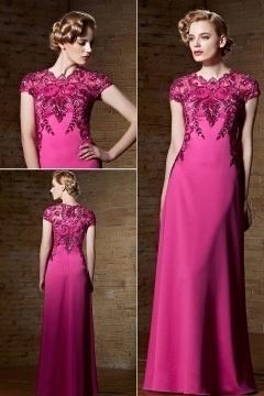 Vintages Etui-Linie Bodenlanges fuchsia Abendkleid aus Satin