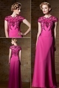Gorgeous Satin Fuchsia Floor Length Jewel Embroidery Evening Dress