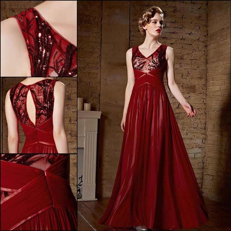 g nstig chic a linie rotes chiffon langes v ausschnitt rmelloses abendkleid online verkauf. Black Bedroom Furniture Sets. Home Design Ideas
