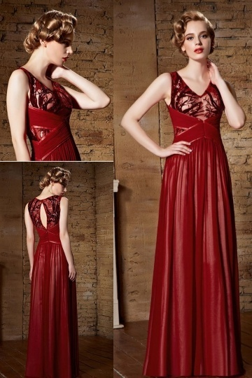 Dressesmall Chic Red Chiffon V Neck Long Sequins Prom Dress