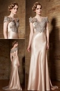 Elegantes Off Schulter langes goldes Abendkleider aus Satin