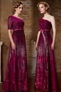 Sexy Ein Schulter Etui Linie Langes Ruching Abendkleider aus Sequins