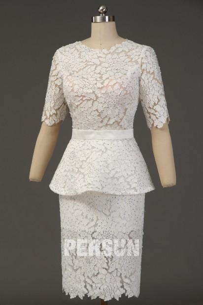 Modern Knielang Etui-Linie weiß Abendkleid mit Ärmeln aus Spitze Persunshop