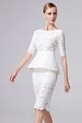 Weiß Etui-Linie Boot-Ausschnitt Knielang Abendkleider aus Spitze