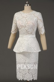 Short white sheath peplum dress in floral lace with strass