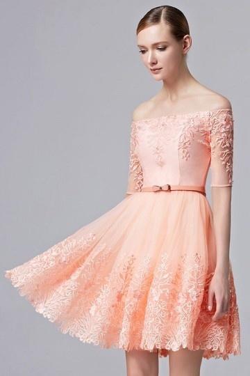 Elegant Off Schulter A-Linie kurz 2016 Abendkleider aus Tüll Persun