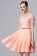 Chic Off Schulter A-Linie Abendkleider aus Tüll mit Band verziert