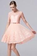 2016 elegant rosa Abendkleider aus Tüll mit Band verziert