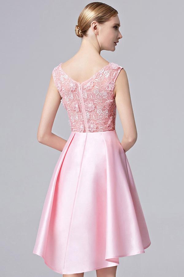 robe rose col v courte devant longue derri re en satin avec tole. Black Bedroom Furniture Sets. Home Design Ideas