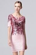 Luxus Etui-Linie Kurz Abendkleider mit Paillette in Rosa