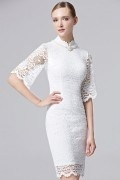 Chic Etui-Linie Abendkleider mit Stehkragen aus Spitze