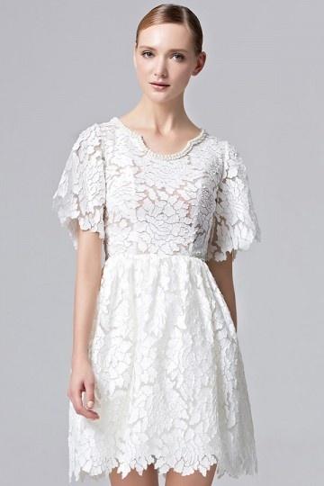 Chic A-Linie Kurz Ivory Abendkleider aus Spitze mit Ärmeln Persunshop