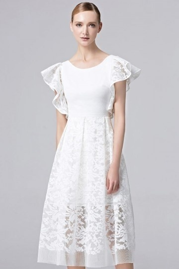 2017 Ivory A-Linie Knielang Rund-Ausschnitt Abendkleider aus Spitze Persunshop