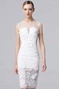 2017 Sexy Knielang Ärmellos Boot-Ausschnitt Abendkleid in Weiß