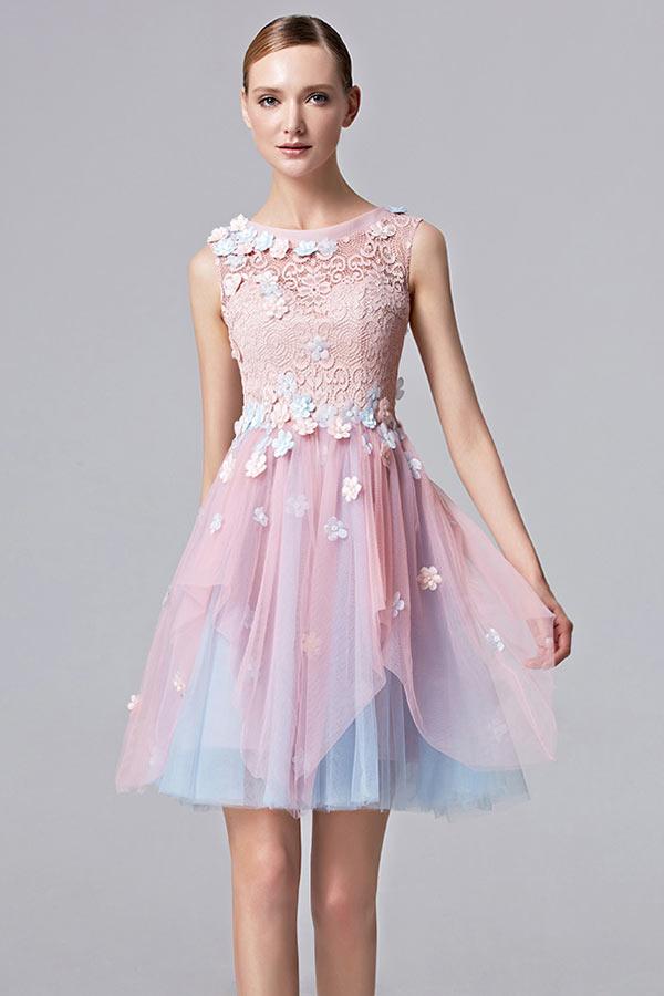 Robe de bal courte fleurie avec bloc rose & bleu vintage