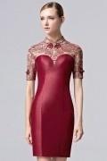 Chic Chinesischer-Stil Kurz Stehkragen Abendkleid aus Satin
