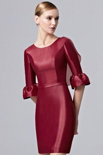 Modern Etui-Linie Boot-Ausschnitt Abendkleider in Rot aus Satin Persunshop