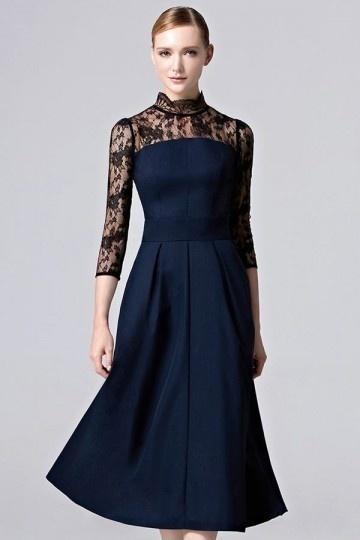 Vintage A-Linie Stehkragen Abendkleid mit Ärmeln aus Satin Persunshop