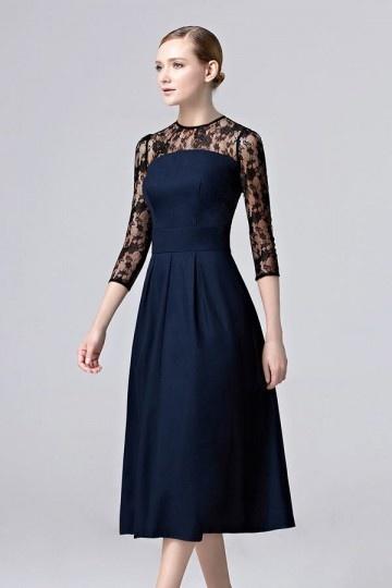 Robe élégante bleu pour gala à manche en dentelle