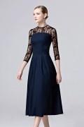 Vintage A-Linie Stehkragen Abendkleid mit Ärmeln aus Satin