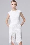 2016 weiß Etui-Linie Knielang Abendkleider mit Ärmeln aus Spitze