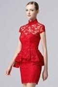 Sexy rot Etui-Linie Cocktailkleider 2016 aus Spitze